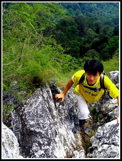 daniel climbing Bukit Tabur