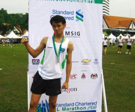 Victory Pose After Running 21km Marathon