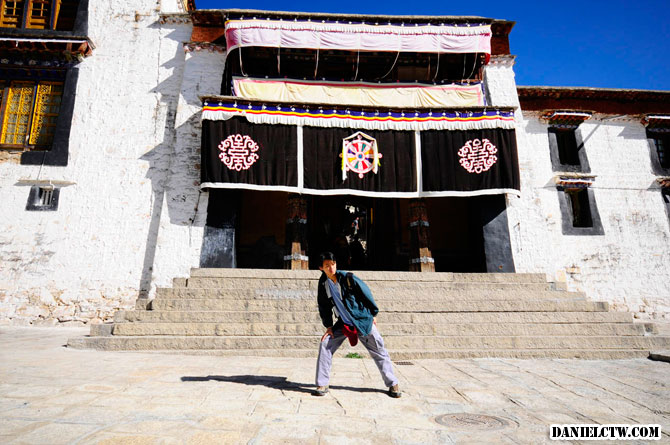 Daniel Chew poses at Drepung Monastery