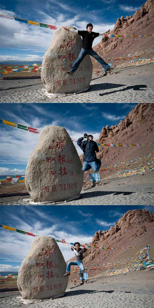 3 Jumpers at LakenLa Stone Tibet in front of Namtso lake