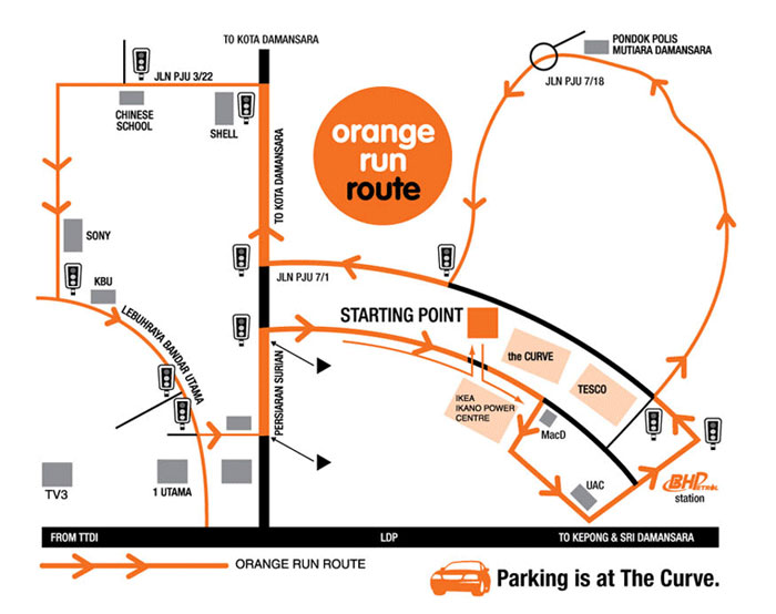 BHP Orange Run 2010 Route