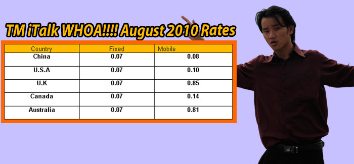 TM iTalk Cheap August 2010 Rates