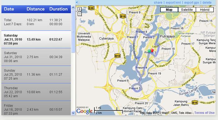 Putrajaya Shape Run 2010 Track