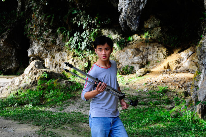 Daniel Chew acting weird with a Tripod. Cool pose though