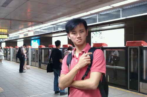 Daniel Chew on the Train at Taiwan
