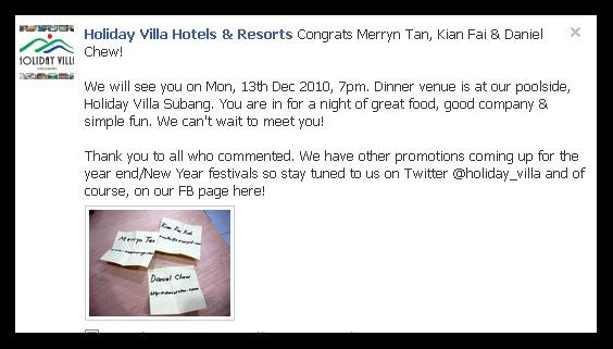 Holiday Villa Facebook Page