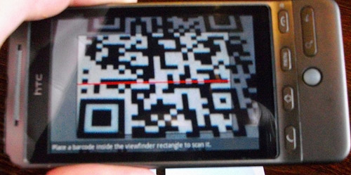 Barcode Scanned Using HTC Hero