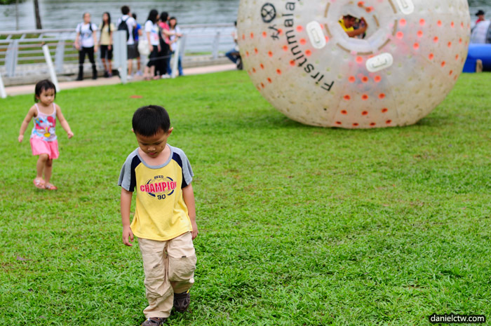 Little Boy cannot play Zorb