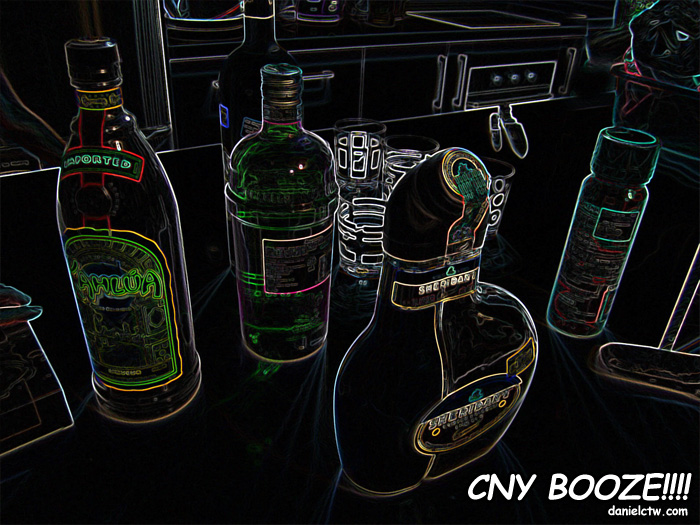 CNY Booze Sheridan Kahlua and Bacardi