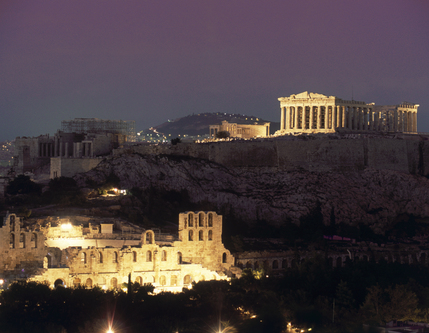 Athens Night View Temple