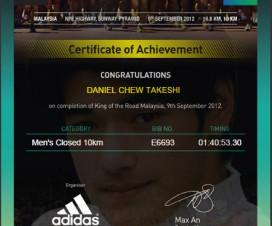 Daniel Chew Takeshi KOTR 2012 Certificate