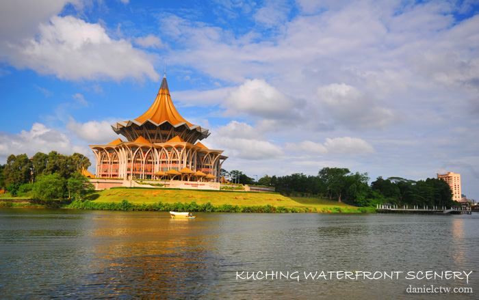 kuching waterfront with State Courthouse
