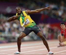 Daniel Chew giving the eye to Usain Bolt