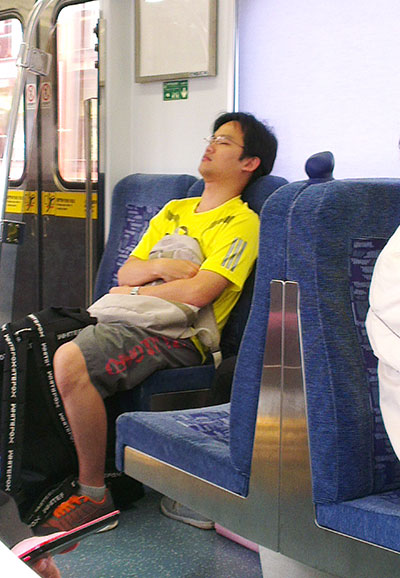 sleeping in train