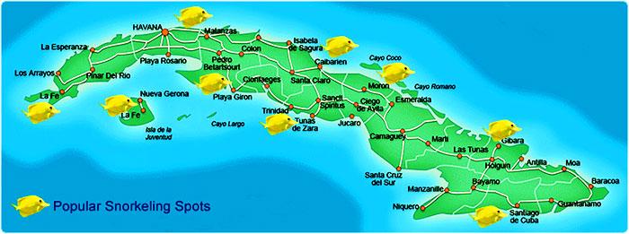 beach snorkel cuba map